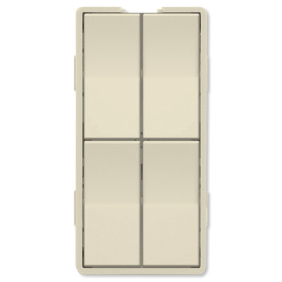Simply Automated UPB Faceplate, Quad Rockers, Almond