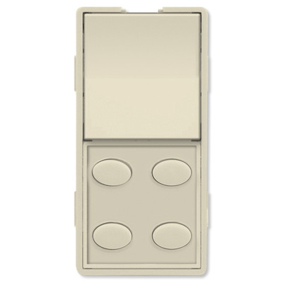 Simply Automated UPB Faceplate, Single Rocker & 4 Oval Buttons, Almond