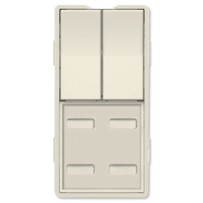 Simply Automated UPB Faceplate, Dual Rocker & 4 Bar Buttons, Light Almond