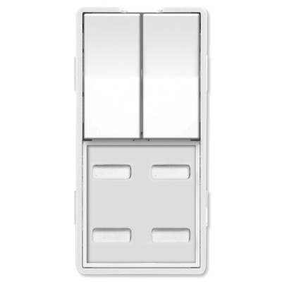 Simply Automated UPB Faceplate, Dual Rocker & 4 Bar Buttons, White