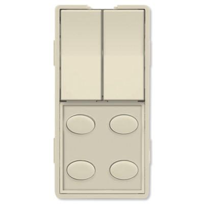 Simply Automated UPB Faceplate, Dual Rocker & 4 Oval Buttons, Almond