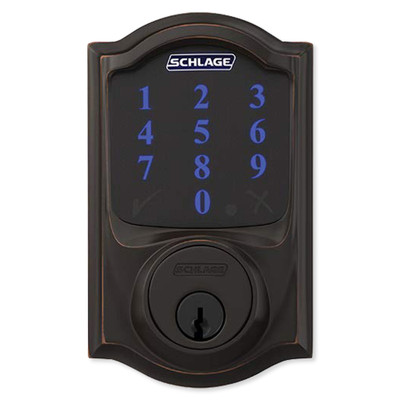 Schlage Connect Z-Wave Plus Deadbolt with Built-In Alarm, Camelot Style, Aged Bronze