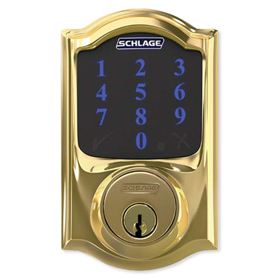 Schlage Connect Z-Wave Plus Deadbolt with Built-In Alarm, Camelot Style, Bright Brass