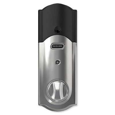 Schlage Connect Z-Wave Plus Deadbolt with Built-In Alarm, Camelot Style, Bright Chrome
