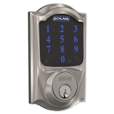 Schlage Connect Z-Wave Plus Deadbolt with Built-In Alarm, Camelot Style, Satin Nickel
