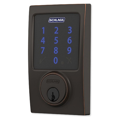 Schlage Connect Z-Wave Plus Deadbolt with Built-In Alarm, Century Style, Aged Bronze