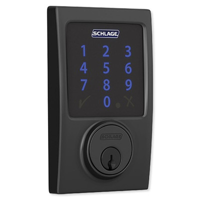 Schlage Connect Z-Wave Plus Deadbolt with Built-In Alarm, Century Style, Matte Black