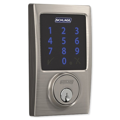 Schlage Connect Z-Wave Plus Deadbolt with Built-In Alarm, Century Style, Satin Nickel