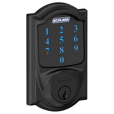 Schlage Connect Z-Wave Deadbolt with Built-In Alarm, Camelot Style, Matte Black