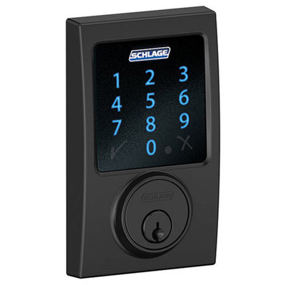 Schlage Connect Z-Wave Deadbolt with Built-In Alarm, Century Style, Matte Black