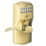 Schlage Connect Z-Wave Leverset, Camelot Style, Bright Brass (Open Box)
