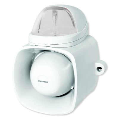 Seco-Larm Enforcer Self-Contained Siren/Strobe with Audio Input, Clear