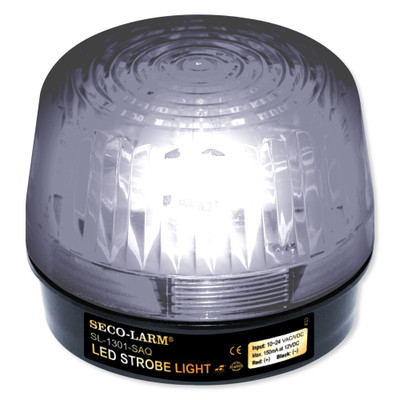 Seco-Larm Enforcer LED Strobe Light with Built-In Programmable Siren, Clear