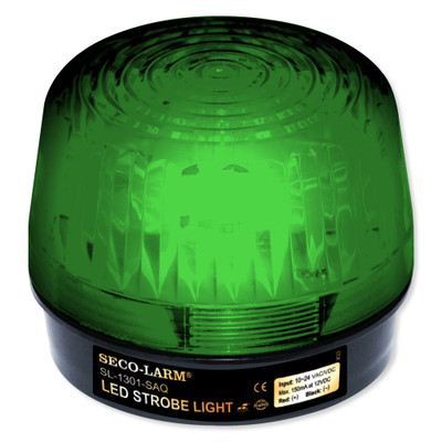 Seco-Larm Enforcer LED Strobe Light with Built-In Programmable Siren, Green