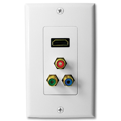 SCP HDMI Wallplate with 3 RCA Jacks, White