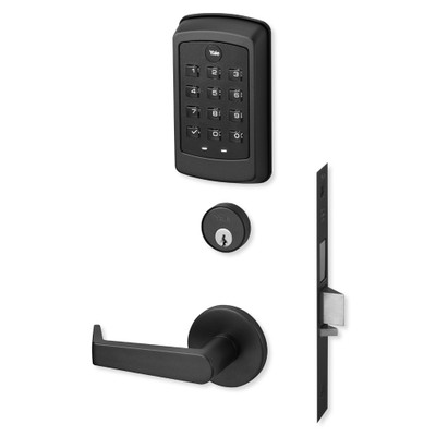 Yale nexTouch Sectional Mortise Lock Pushbutton Keypad with Cylinder Override, Deadbolt with Thumbturn, and Zigbee Module, Black Suede