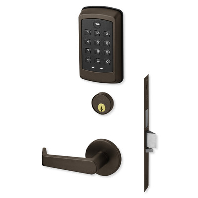 Yale nexTouch Sectional Mortise Lock Pushbutton Keypad with Cylinder Override, Deadbolt with Thumbturn, and Z-Wave Module, Dark Oxidized Bronze