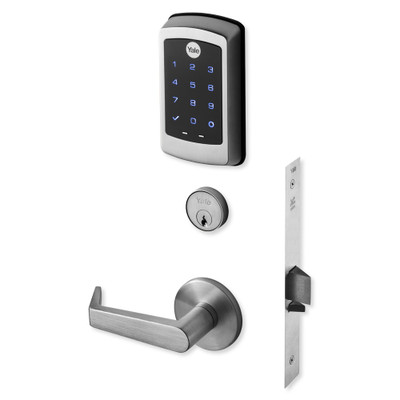 Yale nexTouch Mortise Lock Touchscreen Keypad with Cylinder Override and Z-Wave Module, Satin Chrome Plated