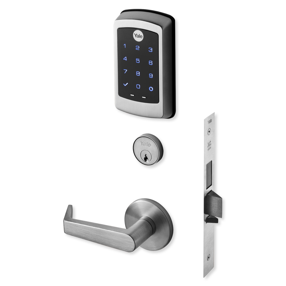Euro Profile Cylinder with Keyhole Cover Yale Bologna Black Door Handle 35-ZR-8x8-A003-CE-56-11 All Fixtures Supplied Stylish Modern Design for Indoor and Outdoor Use