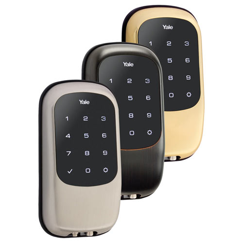 Yale Z-Wave T1L Key Free Touchscreen Deadbolt, Bright Brass