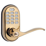 Yale Z-Wave Push Button Leverset, Bright Brass