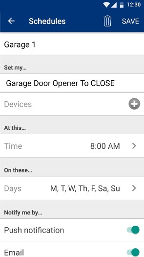 Chamberlain MyQ App Screenshot of Schedules