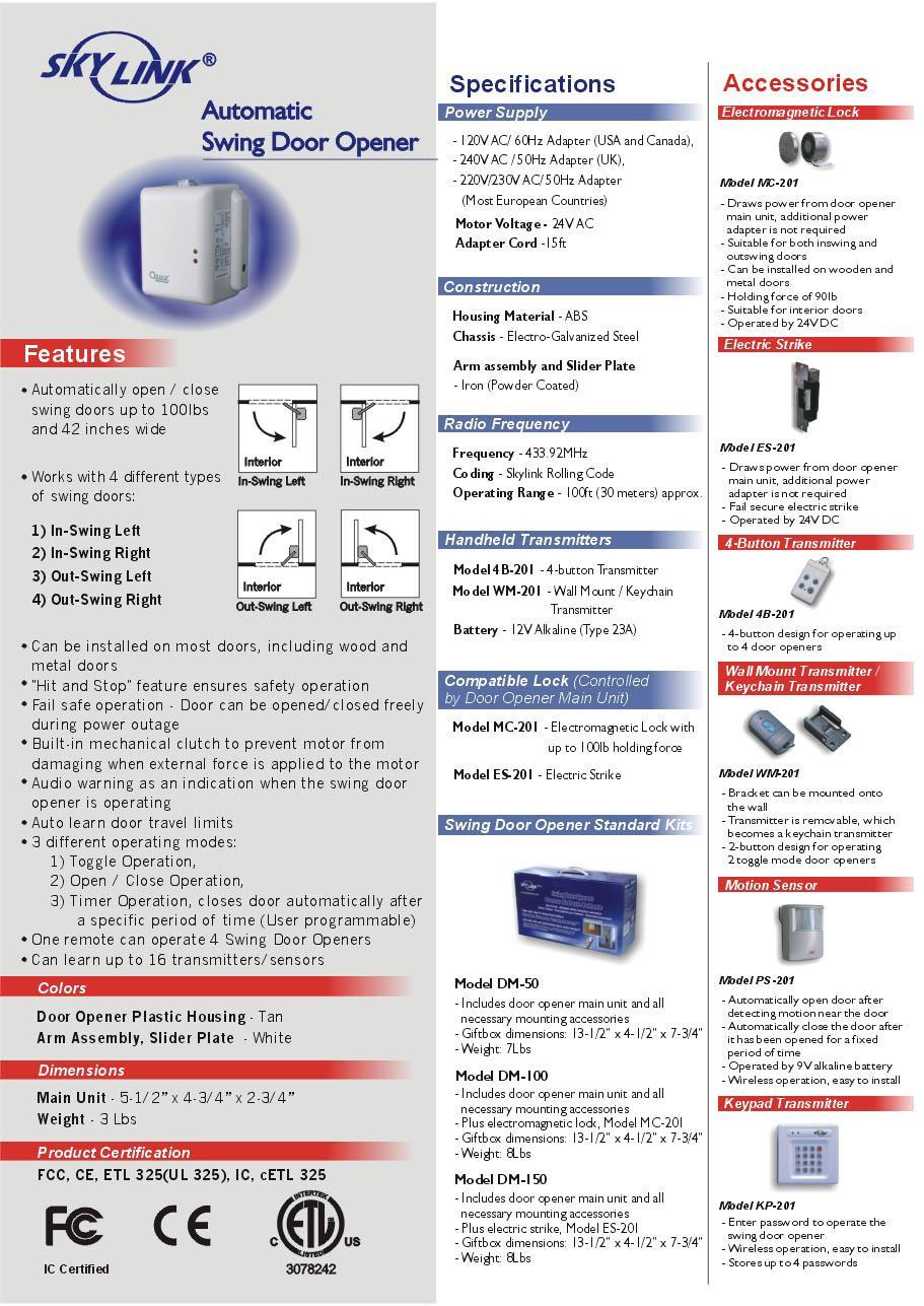 »Skylink DM 150 Automatic Swing Door Opener Brochure ()
